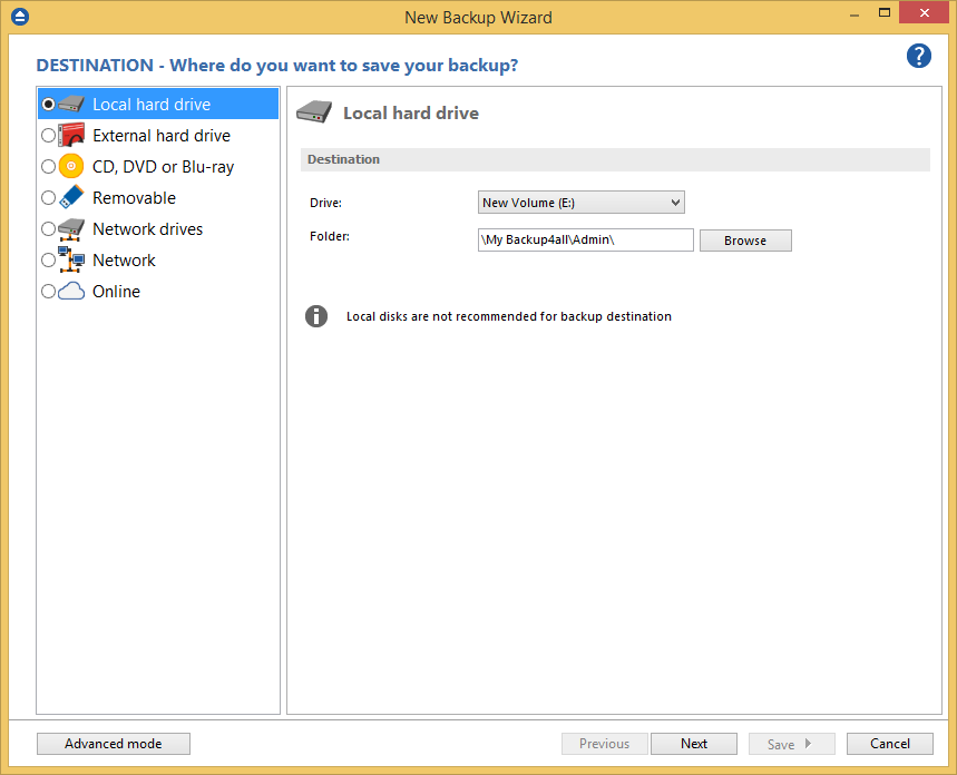 How to configure a new backup