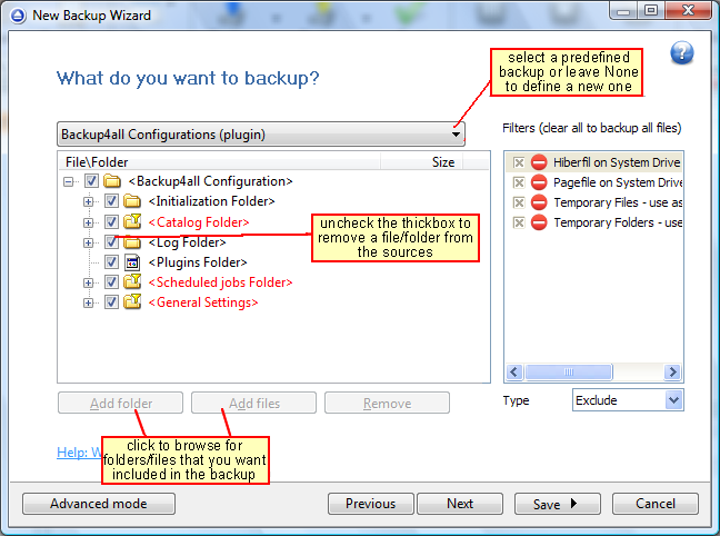 Configure new backup