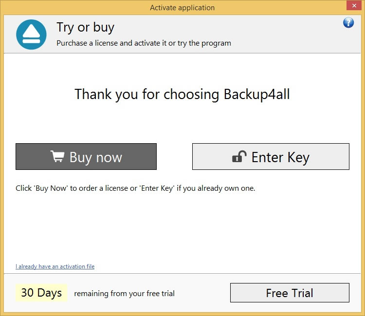 Backup4all 6 - Online Activation 1