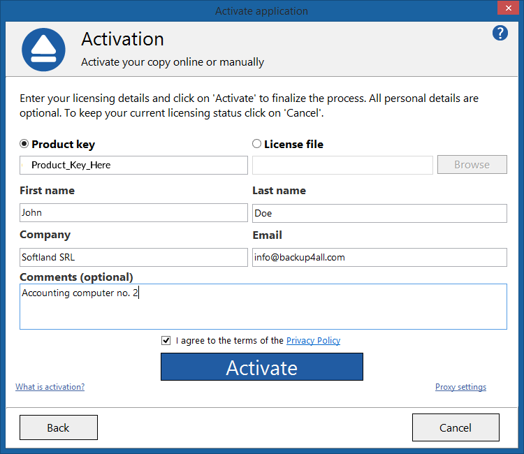 Backup4all 7 - Online Activation 2
