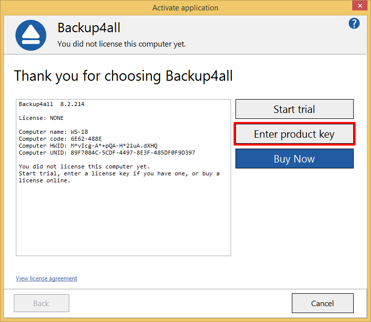 Backup4all 8 - Manual Activation 1