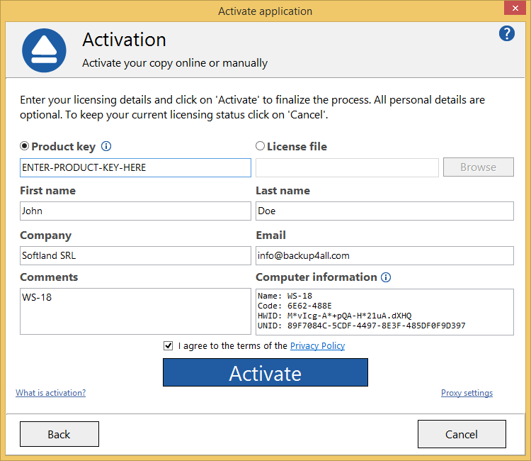 Backup4all 8 - Manual Activation 2