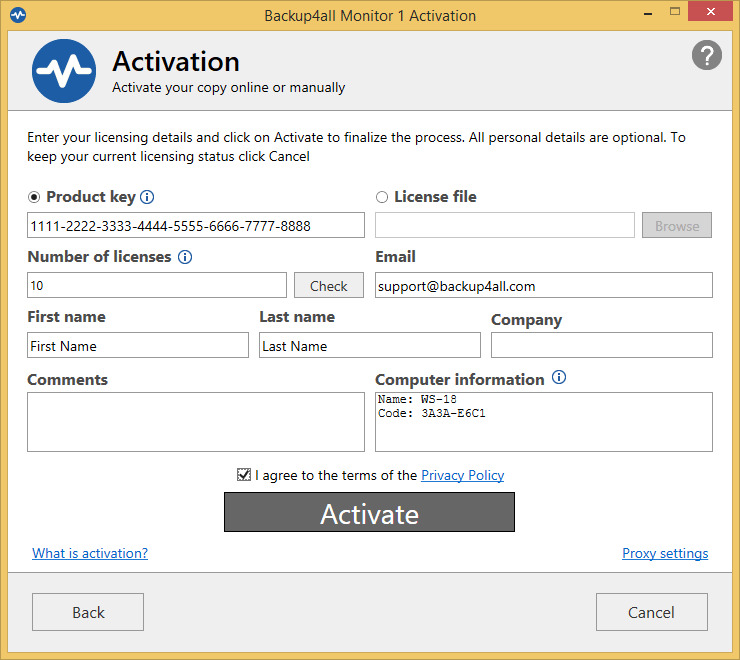 Backup4all Monitor - online activation