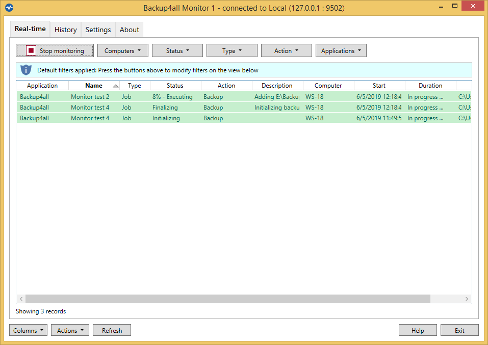 Backup4all Monitor - Real time tab