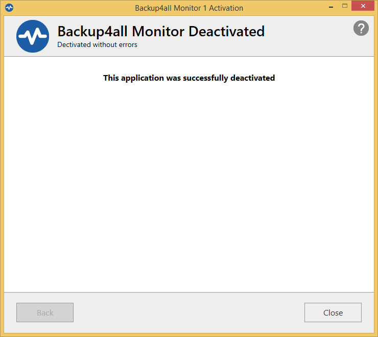 Backup4all Monitor - manual deactivation