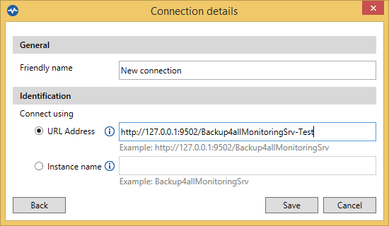 Backup4all Monitor - Configure Dashboard Address