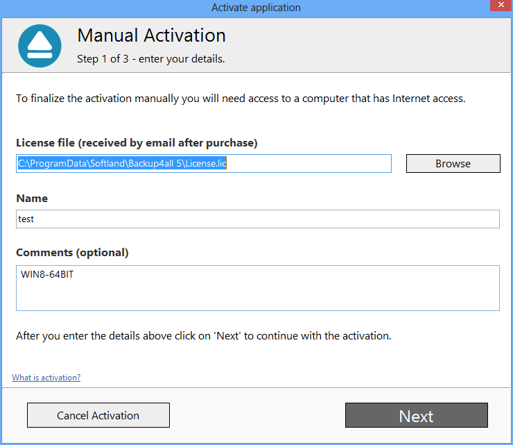 Backup4all 5 - Manual Activation 3