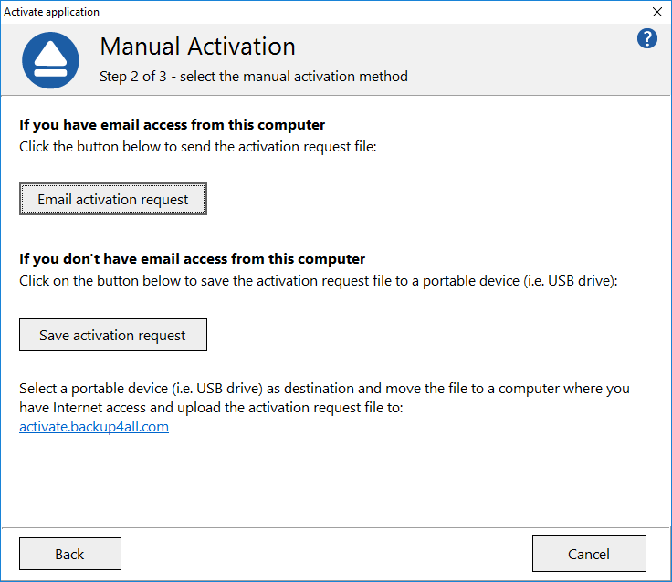 Backup4all 8 - Manual Activation 4
