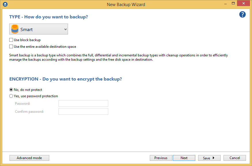 Continuous backup